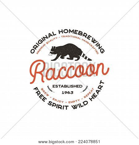 Wild animal badge with Raccoon and typography elements. Beer Logo template for brewing company. Stock vector beer house label, emblem with letterpress effect. Isolated on white.
