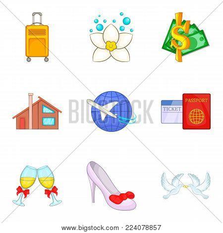 Wedding journey icons set. Cartoon set of 9 wedding journey vector icons for web isolated on white background