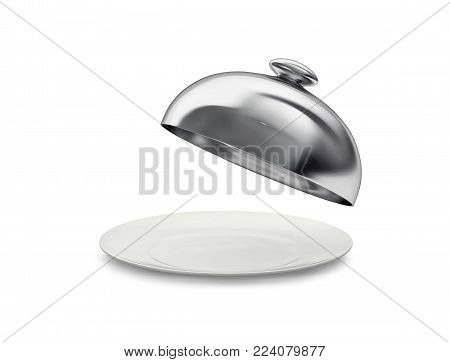 Porcelain dish with open cloche isolated on white. 3D rendering with clipping path