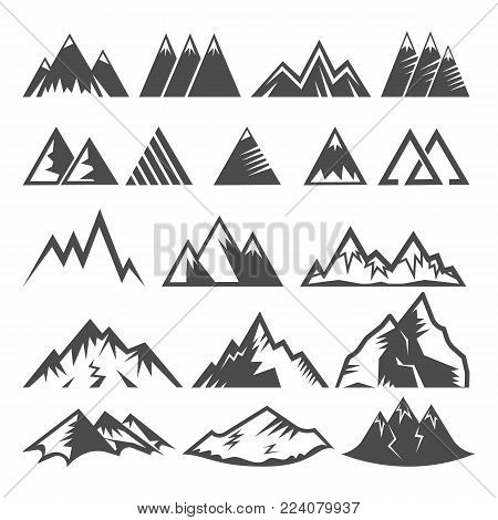 Mountain logo vector mounting logotype peak of mount and winter mountainous valleys hiking mountaineering rock climbing or traveling in alps illustration set of icons isolated on white background.
