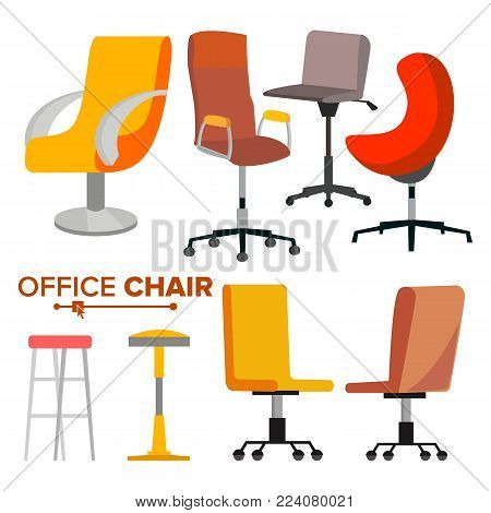 Office Chairs Set Vector. Business Hiring And Recruiting. Empty Chair Seat For Employee. Ergonomic Armchair For Executive Director. Icon Illustration
