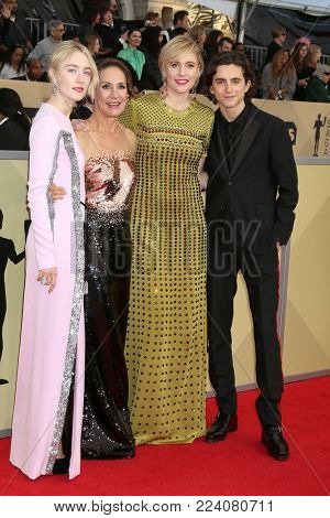 LOS ANGELES - JAN 21:  Saoirse Ronan, Laurie Metcalf, Greta Gerwig, Timothee Chalamet at the 24th Screen Actors Guild Awards - Press Room at Shrine Auditorium on January 21, 2018 in Los Angeles, CA