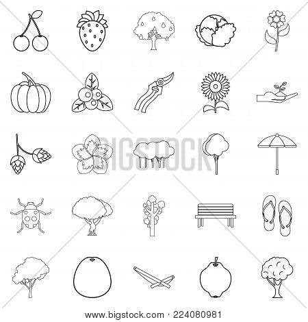 Floret icons set. Outline set of 25 floret vector icons for web isolated on white background
