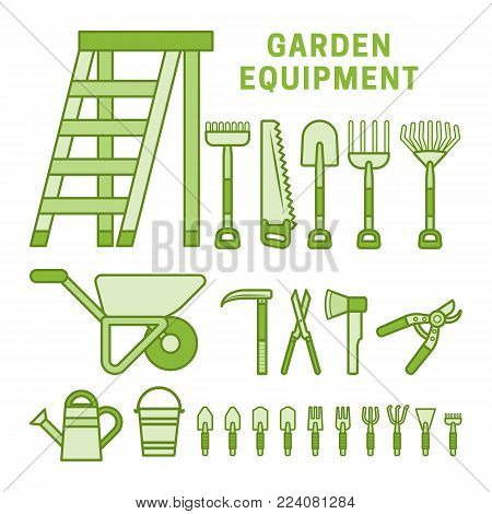 Garden tools set in green colors. Strokes not expanded. Outlines not converted to objects