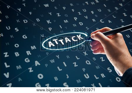 Cyber attack concept. Cyber security specialist looking for evidence of attack in log file.