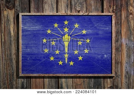3d Rendering Of An Indiana State Usa Flag On A Wooden Frame And A Wood Wall