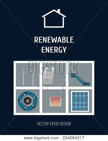Template booklet. The concept of renewable energy. Wind turbine, heat pump, turbine and solar panel. Vector illustration.