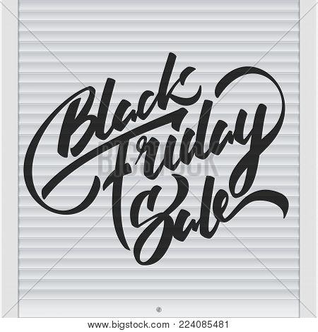 Vector illustration: Handwritten modern brush lettering of Black Friday Sale on roller shutter background.