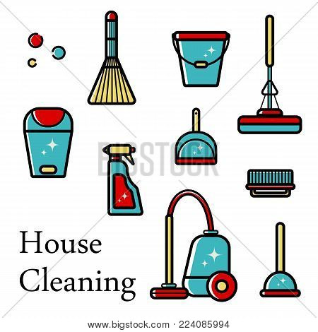 Vector set of flat icons for cleaning tools at home. Isolated objects on white background. Cleaning the room, washing the floor and windows. Linear style.