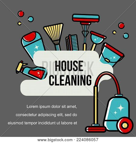 Vector background of accessories for cleaning in a flat style. Washing the floor, cleaning the windows. Linear style.