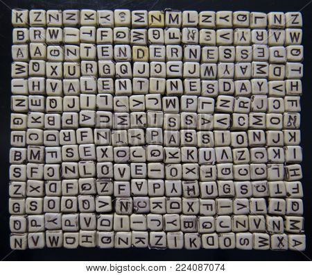 Background For Valentine's Day Wooden Blocks With Letters Forming Words About Love