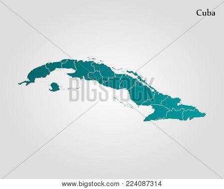 Map of Cuba. Vector illustration. World map