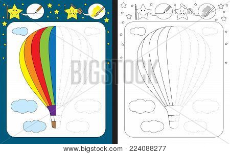 Preschool worksheet for practicing fine motor skills - tracing dashed lines - finish the illustration of hot air balloon