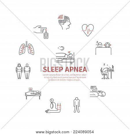 Sleep Apnea. Symptoms, Treatment. Line icons set. Vector signs for web graphics