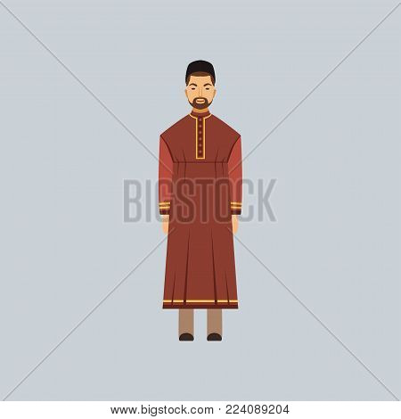 Muslim man in tradition costume, representative of religious confession vector Illustration in a flat style