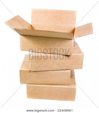 stack of  cardboard boxex