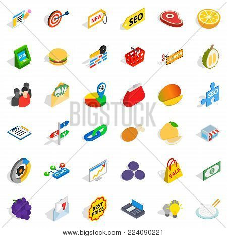 Fiscal icons set. Isometric set of 36 fiscal vector icons for web isolated on white background