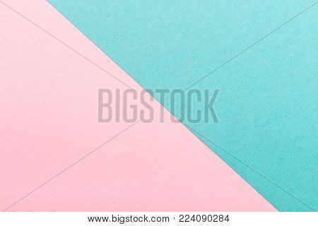 Pink and turquoise color paper texture background. Trend colors, geometric paper background. Colorful of soft paper background.Pastel colors.