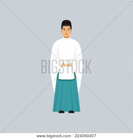 Male Shinto priest in traditional clothing, representative of religious confession vector Illustration in a flat style