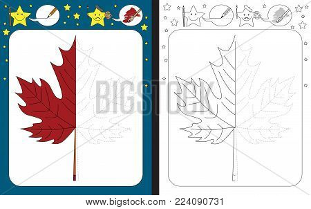 Preschool worksheet for practicing fine motor skills - tracing dashed lines - finish the illustration of maple leaf