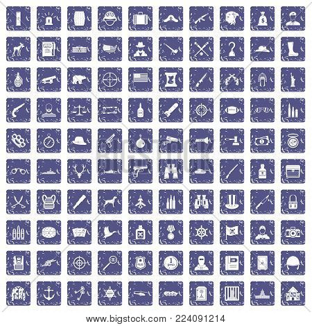 100 bullet icons set in grunge style sapphire color isolated on white background vector illustration