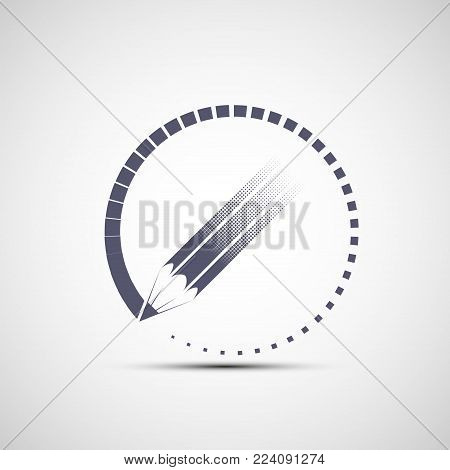 Logo pencil in the circle. Art and creativity. Stock vector icons illustration.