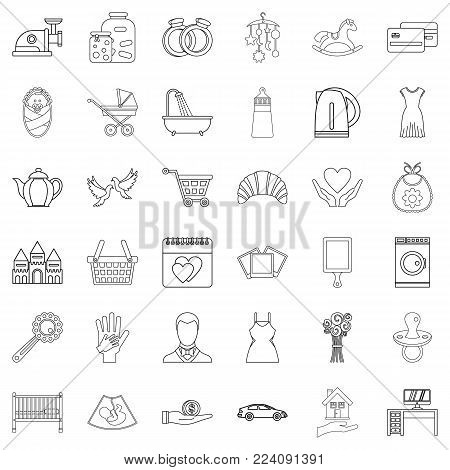 Joint life icons set. Outline set of 36 joint life vector icons for web isolated on white background