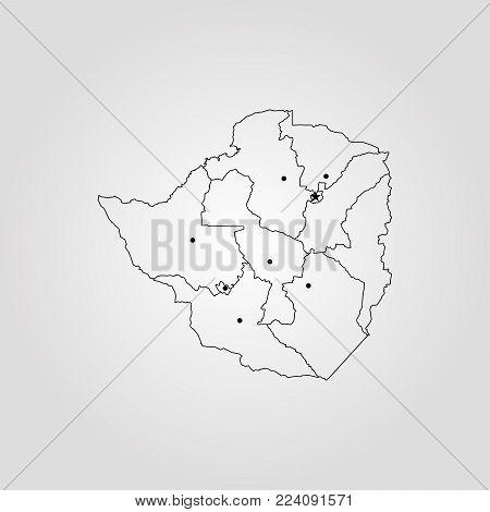 Map of Zimbabwe. Vector illustration. World map