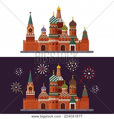 Welcome to Russia. St. Basil s Cathedral on Red square. Kremlin palace isolated on white background and night with fireworks - vector stock flat illustration. Landscape design.