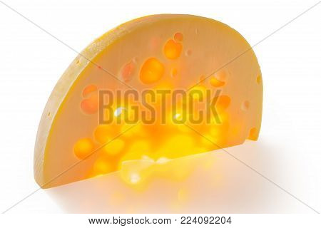 Translucent semicircular piece of Swiss-type cheese with cheese's eyes on matte surface illuminated from behind on a white background
