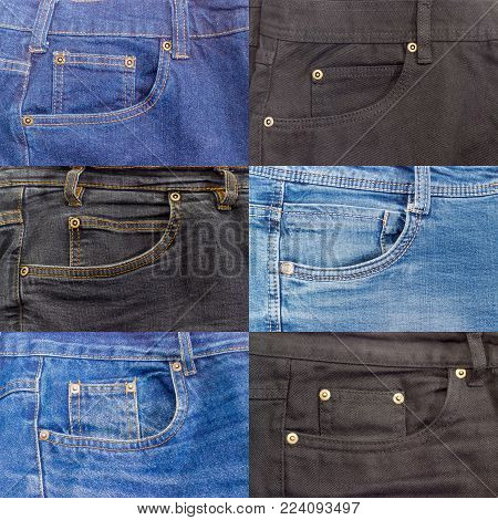 Fragments of the upper parts of the used blue and black jeans with waistbands, belt loops, reinforcing by copper rivets pocket and little pockets