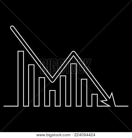 Continuous line drawing of graph icon isolated on black background. Downside trend graph, bar chart image with arrow down. Vector illustration for banner, template, poster, postcard, web, app, infographics.