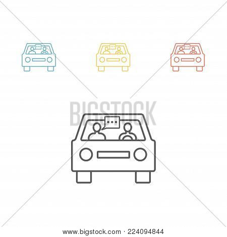 Driving by car. Communication on the road. Vector flat cartoon illustration