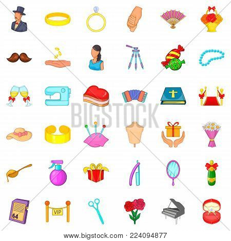 Union icons set. Cartoon set of 36 union vector icons for web isolated on white background