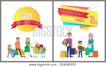 Sale special offer premium quality super price, vector illustration of exclusive advertising poster with chearfull people, many purchases, text sample