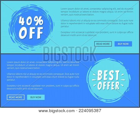 Two best offer 40 percent off promotion posters, vector illustration with ad text, colorful push-buttons and stickers isolated on blue background