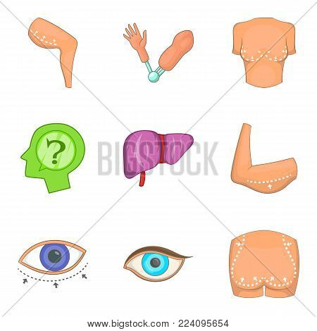 Part of body icons set. Cartoon set of 9 part of body vector icons for web isolated on white background