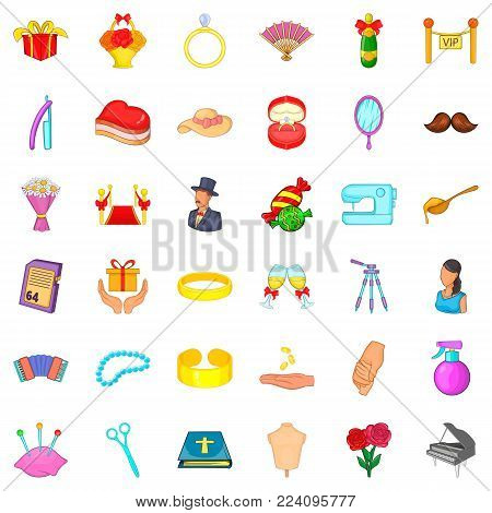 Marriage of convenience icons set. Cartoon set of 36 marriage of convenience vector icons for web isolated on white background