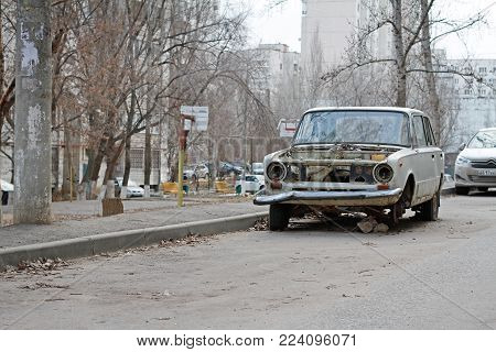 Volgograd, Russia - January 06, 2018: Abandoned soviet motor car VAZ 2101 Zhiguli in the yard in Volgograd