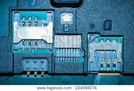 Slot for dual SIM cards. Photo Close-up. slot in the mobile phone for the sim card