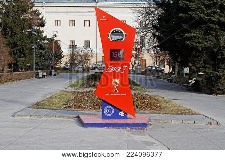 Volgograd, Russia - January 09, 2018: Countdown clock to the start of the FIFA World Cup 2018 in Russia on the Central promenade of Volgograd