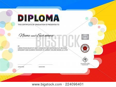 Kids Summer Camp Diploma or certificate template with seal space on colorful background