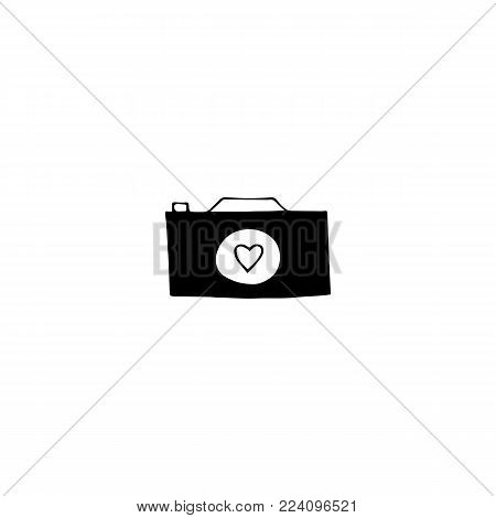 Vector hand drawn object, camera silhouette. Wedding photography logo element, romantic clipart. For photographer, photography studio branding, shop or school. Black on white isolated symbol.