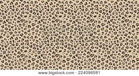 Leopard seamless vector pattern. Cheetah  orange, brown, black repeating texture. Seamless wallpaper, fashion textile background. Wild cat print.