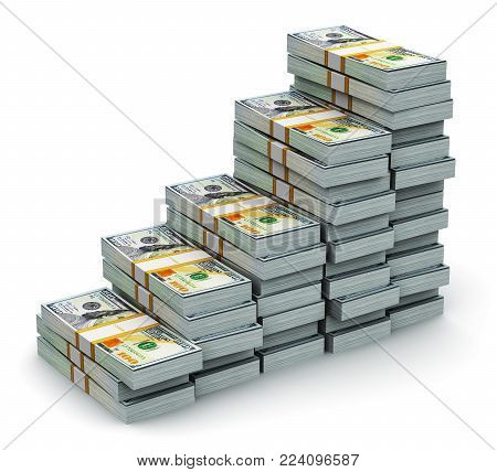 3D render illustration of the growing bar graph from the stacks of new 100 US dollar 2013 edition banknotes or bills isolated on white background