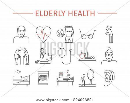 Elderly health line icons set. Retirement cartoon vector design. Vector signs for web graphics.