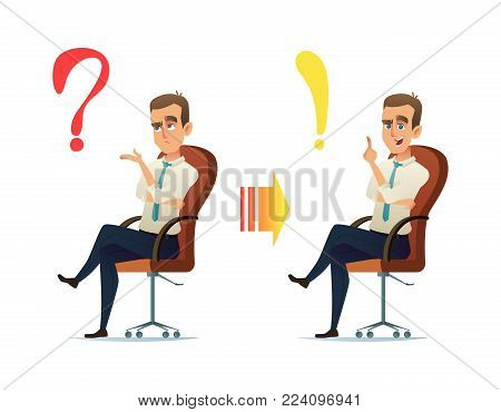 Concept illustration of the young businessman character thinking. The question always has an answer