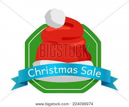 Christmas sale promo label with Santa Claus hat, polygon on green background, blue ribbon with text, advertisement badge with red winter headwear icon