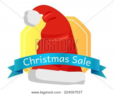 Christmas sale emblem Santas hat with pompom in cartoon style, bue ribbon with text, vector illustration shopping winter holidays label on white