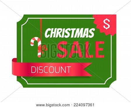 Discount Christmas sale card vector illustration with text sample isolated on green pattern and glossy red ribbon, sweet lollipop on rope with bow